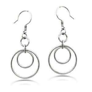 Stainless Steel Dangle Hoop Earrings 2 Inch Drop West