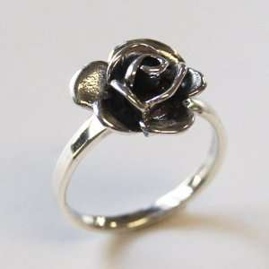 Rose Flower Ring 925 Sterling Silver Size 7   N