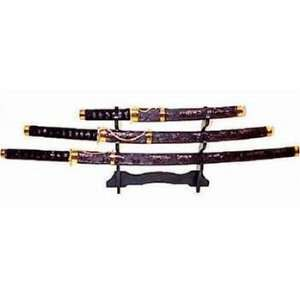 Black Lace Decorative Samurai Sword Set with Stand