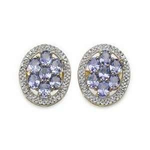 05 Carat Genuine Tanzanite 14K Yellow Gold Over Silver Earrings