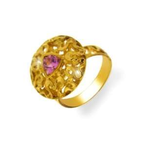 ZR Gold Plated Pink Tourmaline Silver Ring Size 8.5 Jewelry