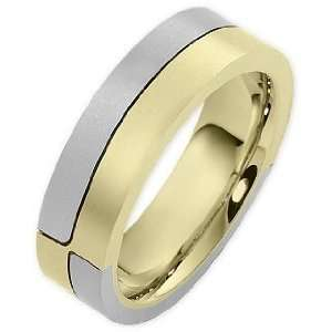 14 Karat Two Tone Gold Unique Comfort Fit Wedding Band Ring   9.75