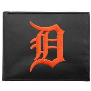 MLB Detroit Tigers Black Leather Embroidered Tri Fold Wallet Sports