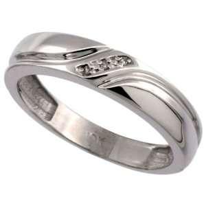 14k White Gold Mens Diamond Wedding Ring Band, w/ 0.019