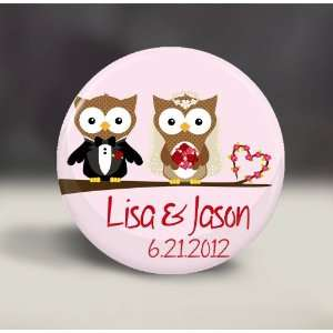 Personalized Wedding Favor  Owl Couple on Branch  Pocket Mirror Gift