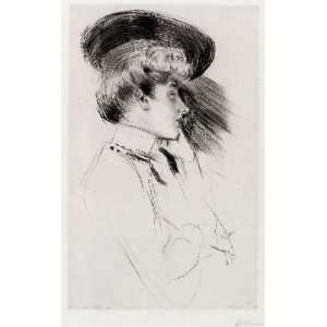 Cesar Helleu   24 x 38 inches   Young woman with hat, looking t