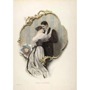 1895 Victorian Woman Man Kiss Schwatz Color Engraving   Original Print