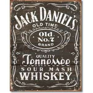 Jack Daniels Whiskey Tin Metal Sign Woodcut Logo , 12x16
