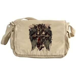Khaki Messenger Bag Cross Angel Wings