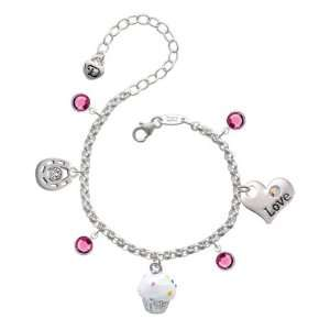 White Cupcake with Sprinkles Love & Luck Charm Bracelet with Rose