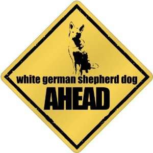 White German Shepherd Dog Bites Ahead !  Crossing Dog Home & Kitchen