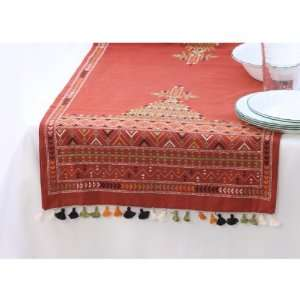 Table Runner with Hand Stitched Suf Embroidery with