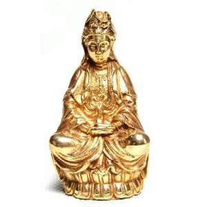 Quan Yin (Goddess of Mercy)   4 High Brass Statue: Health