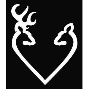 Browning Heart Deer Hunting Vinyl Decal Sticker