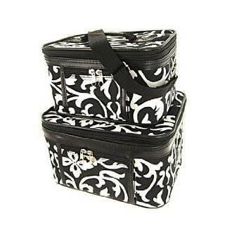 Train Case Cosmetic Toiletry 2 Piece Luggage Set Black & White Damask