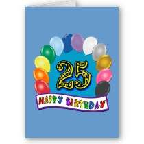 25th Birthday Gifts with Assorted Balloons Design Card by BirthdayZone