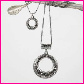 NEW Black Silver Double Circle Pendant Necklace