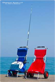 BLUE FOLDING BEACH CHAIR FISHING COOLER DOLLY WAGON CART BFC BLUE