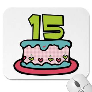 15 Year Old Birthday Cake Mousepad by Birthday_Bash