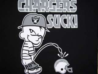 Oakland Raiders DIE HARD ~ CHARGERS SUCK! Shirt  Sm NEW