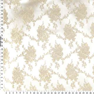 Brocades   Gold Metallic Flowers on Ivory Brocade Fabric