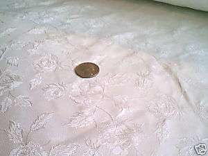 SOLID WHITE RENAISSANCE FLORAL BROCADE FABRIC