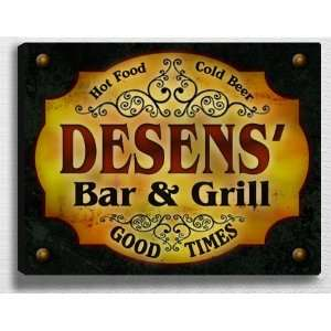 Desenss Bar & Grill 14 x 11 Collectible Stretched