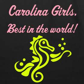 Design ~ Carolina Girls, Seahorse Tote (Sea Turtle tattoo on back)