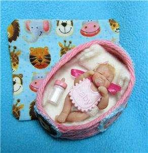 Baby Girl Polymer Clay Sculpt Art Doll House QT 1 3/4 DUCKWALKBABIES