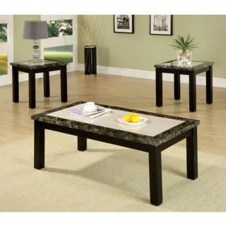 Atlas 3 Piece Faux Marble Table Top Coffee & End Table Set