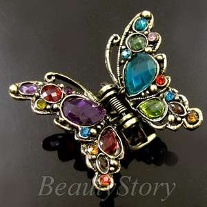 ADDL Item  1p rhinestone crystal Antiqued butterfly hair