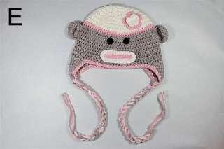 Lovely Gorgeous Baby Toddler Children Sock Monkey Ski Style Knit Hat