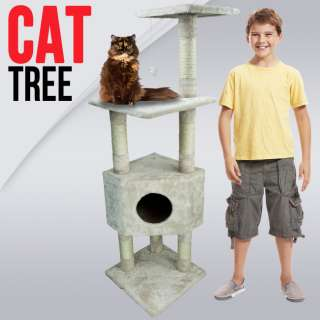 53 Cat Tower Tree w Condo Scratcher Furniture Kitten House Beige Bed