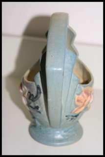 ROSEVILLE POTTERY ~ Blue Magnolia Basket / Vase 383 7 Vintage