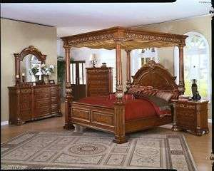 Montecito King Canopy Bed 5 Piece Bedroom Furniture Set