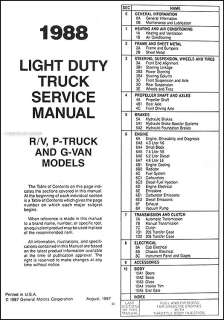 1988 Chevrolet Truck Repair Shop Manual 88 Chevy Pickup Blazer