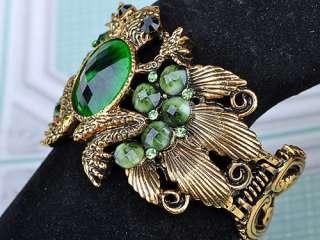 Emerald Green Crystal Rhinestone Frog Toad Bracelet Bangle Cuff