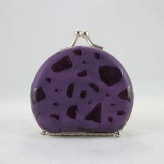 Round Locket Jewelry Travel Case   Purple Jewelry Storage