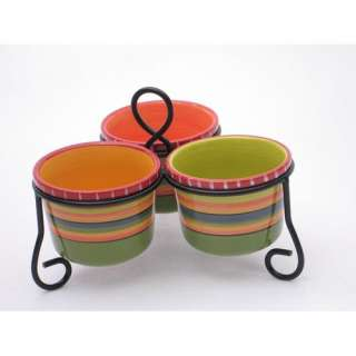 Certified International Hot Tamale 3 Section Server with Metal Stand