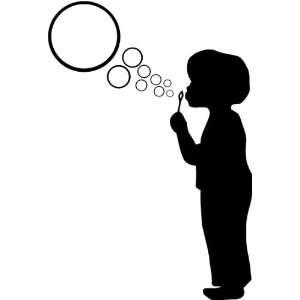 cute little boy blowing bubbles wall art wall sayings