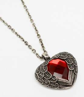 crystal heart pendant necklace puffy Valentines day jewelry
