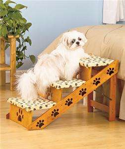 CONVERTIBLE PET DOG STAIRS FOAM CUSHIONED STEPS RAMP PAW PRINT DESIGN