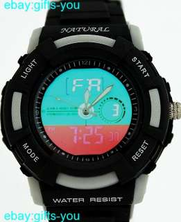 Light Gray Bezel Water Resist Black Band Dual Time Watch AW357C