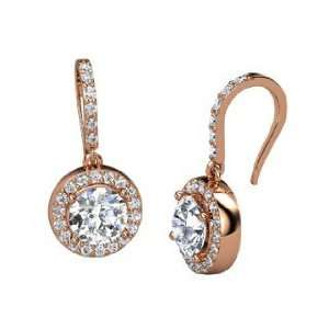 Gem Drop Earrings, Round Diamond 14K Rose Gold Earrings Jewelry