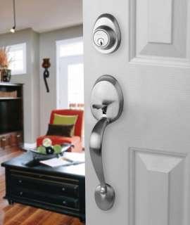 Front Door Entry Set Lock Satin Nickel Lever RH