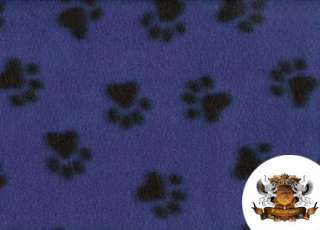 POLAR FLEECE FABRIC PRINTED ROYAL BLUE PAW PRINT BTY