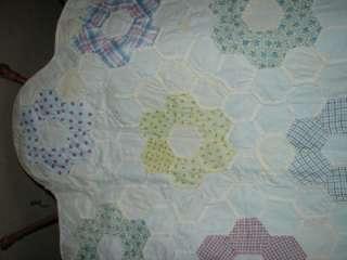 Hand Stitched Grandmothers Flower Garden Quilt Table Runner