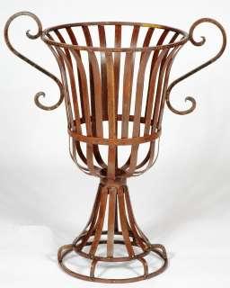 Wrought Iron Urn Planter, Metal Garden Flower Pot w/ Traditional Style