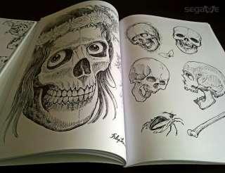 Skulls by Filip Leu popular design Tattoo Flash Book manuscript 15x12