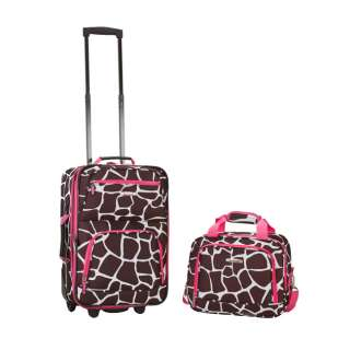 Rockland 2 Pc Carry On Luggage Set   Pink Giraffe